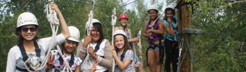 Campers on zip line