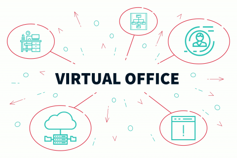 Conceptual business illustration with the words virtual office