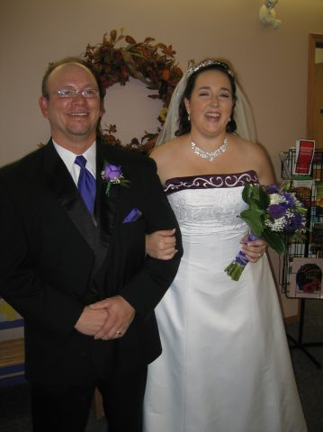 Mr. and Mrs. Hunt on their wedding day